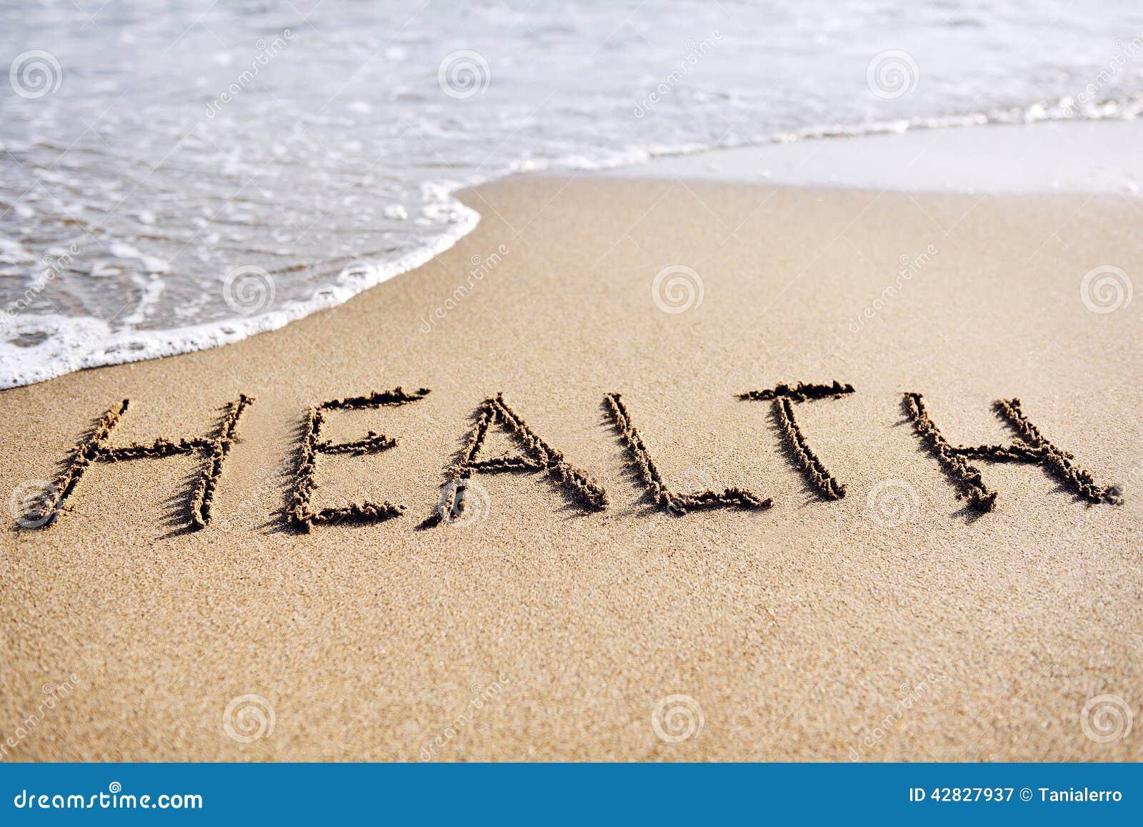 Palabras Escritas En La Arena De La: Salud De La Palabra Escrita En La Arena De La Playa Imagen