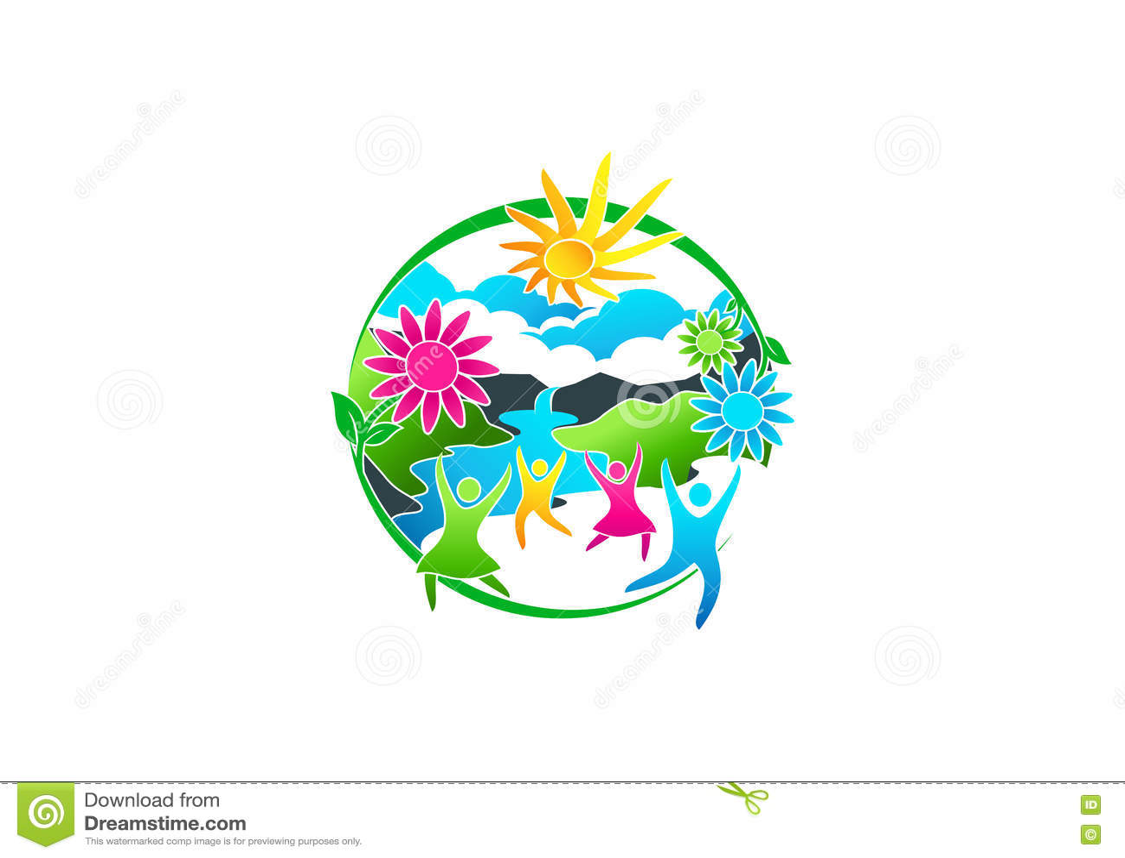 Salud, logotipo, primavera, flor, icono, verano, río, símbolo y diseño de concepto sano de la gente