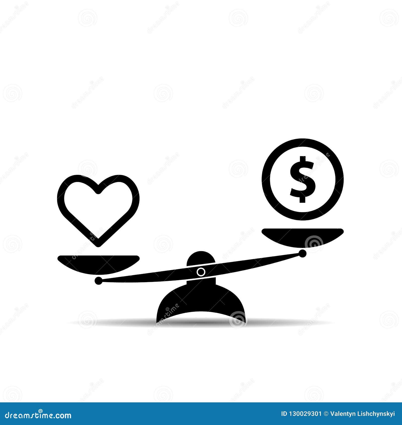 Salud y dinero del corazón en icono de las escalas Balanza, concepto de la salud de la calidad en diseño plano Ilustración del ve
