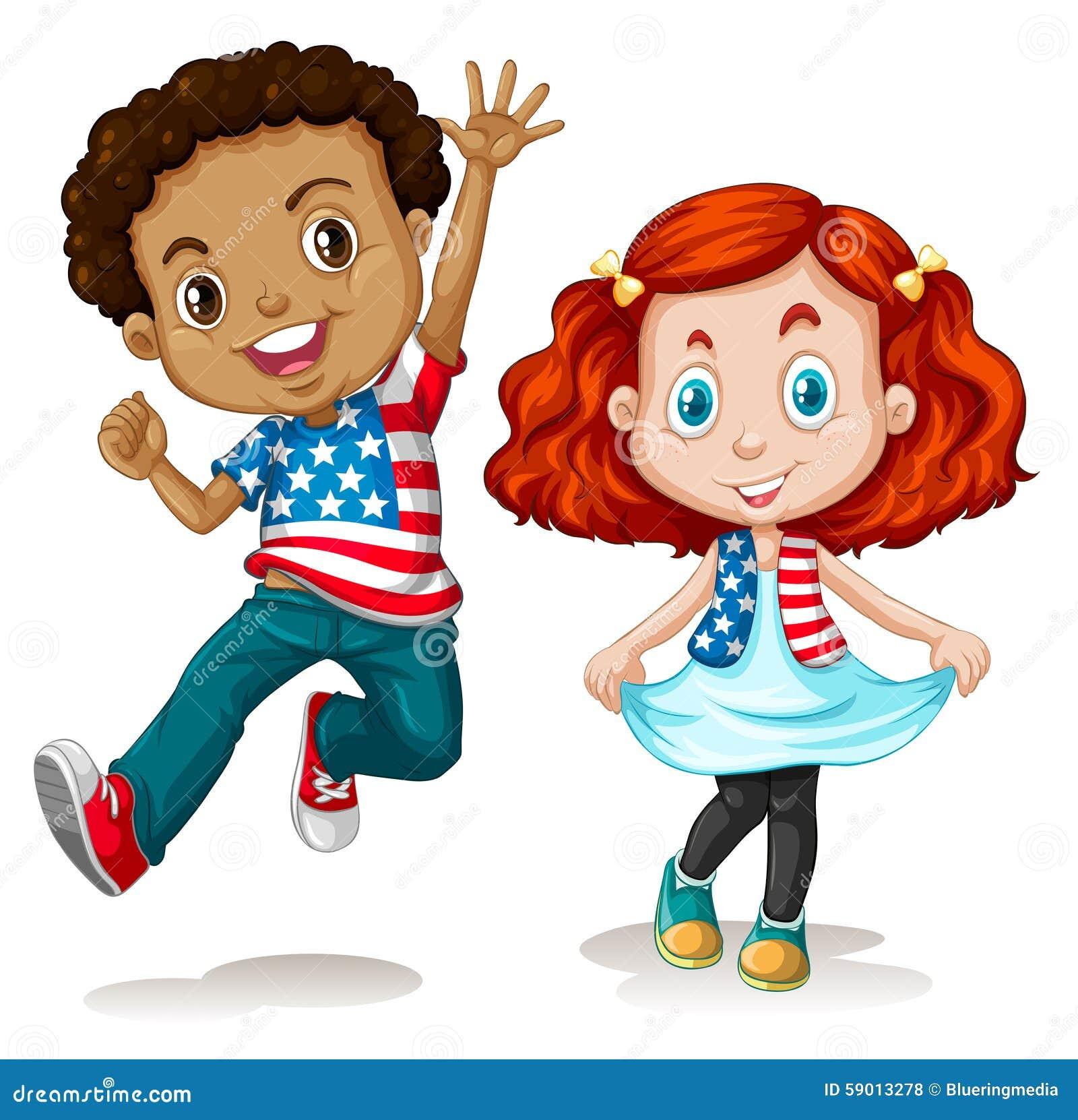 Saludo americano del muchacho y de la muchacha