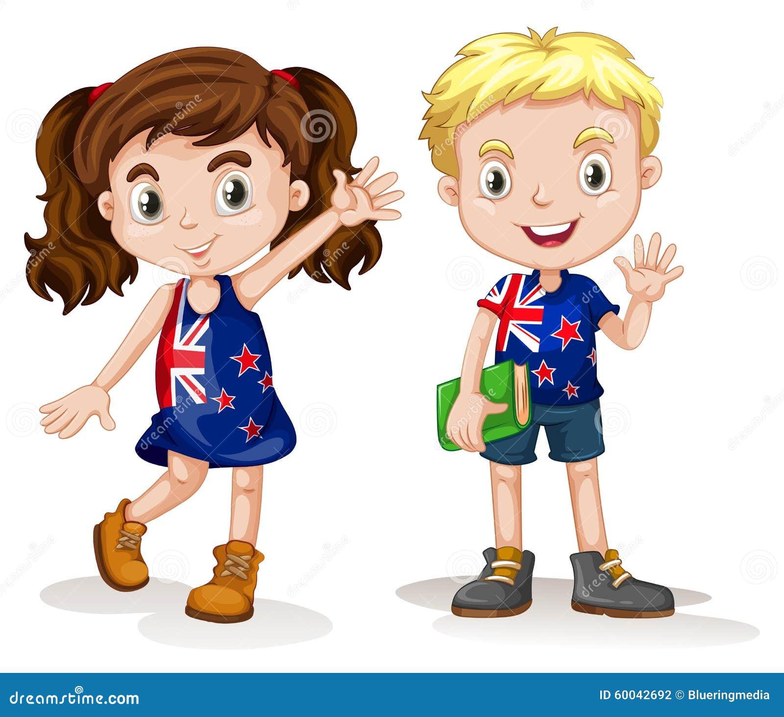 Saludo británico del muchacho y de la muchacha