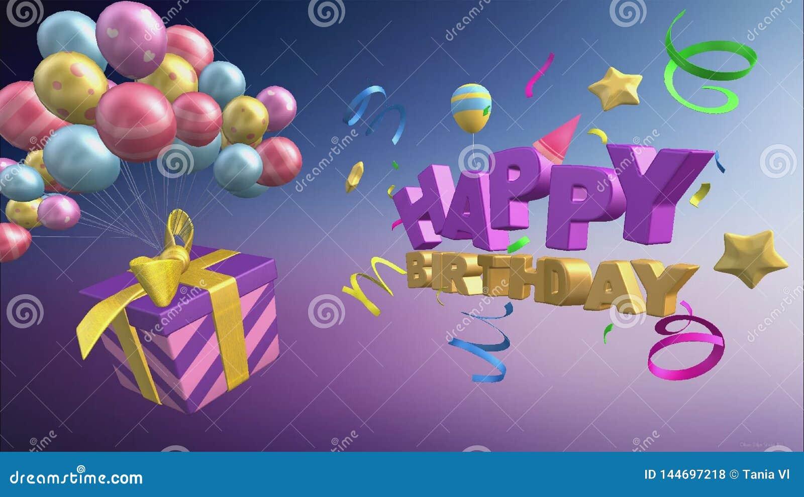 Saludo del feliz cumpleaños con los globos y los regalos en el formato 3d