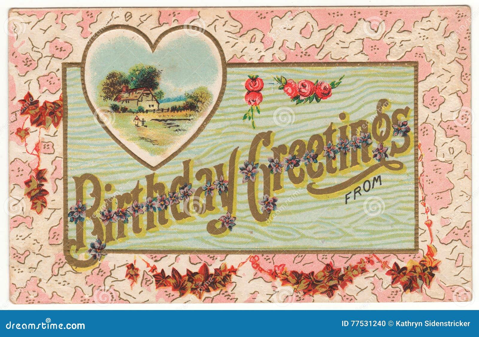 Saludos del cumpleaños de la postal del vintage