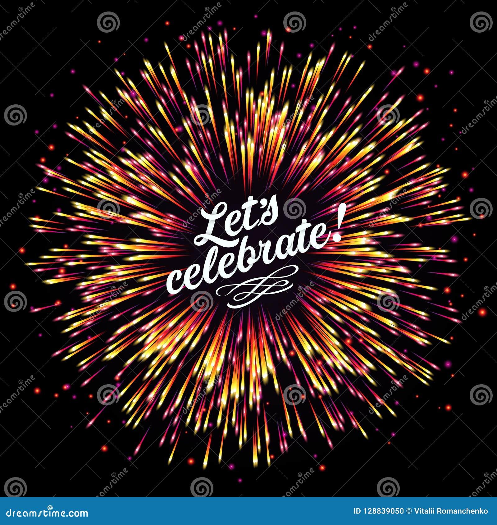 Salut de fête du ` s de nouvelle année Un éclair des feux d artifice sur un fond foncé Un éclat lumineux des lumières de fête fél