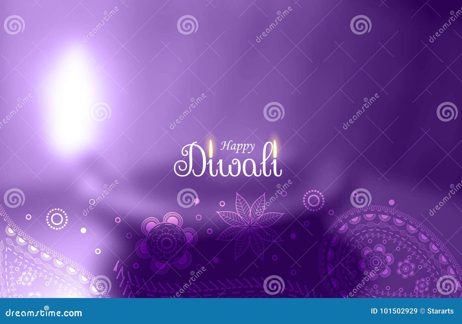 Salutation heureuse pourpre de diwali avec le diya brouillé