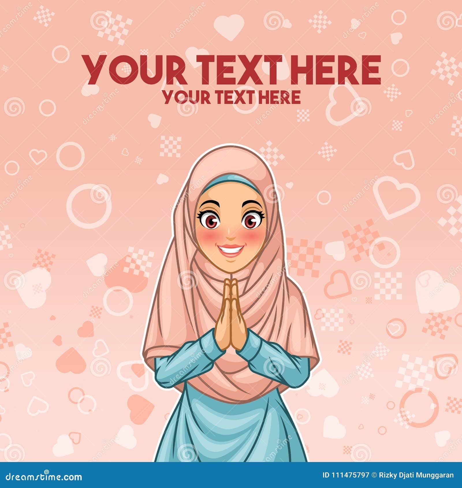 Salutation musulmane de femme avec les mains de accueil