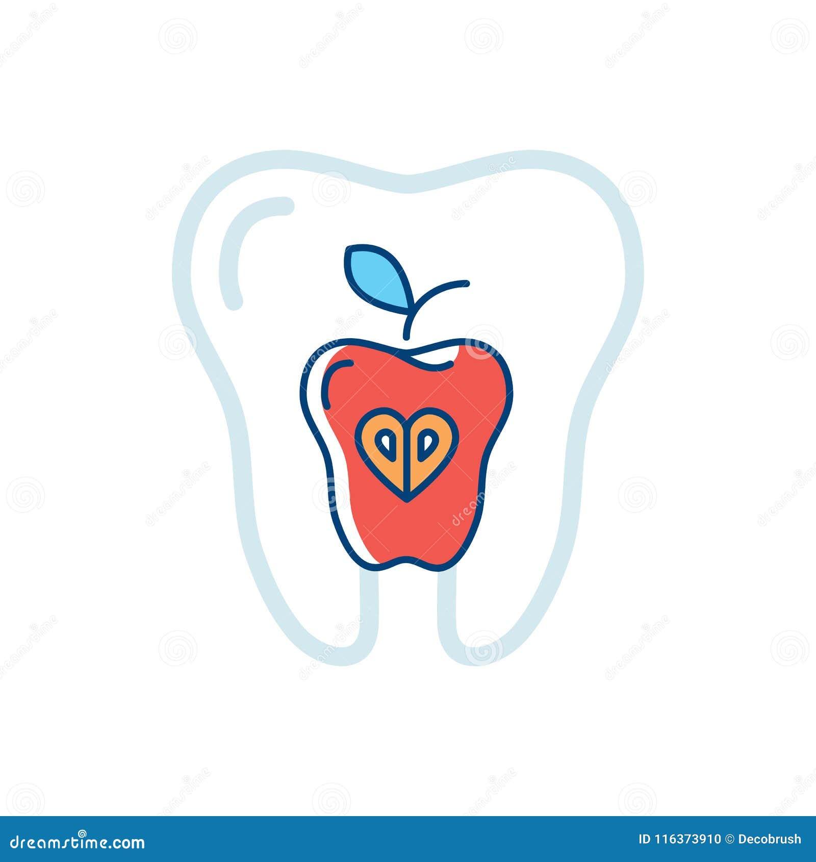 Salute del dente, dente dell icona e una mela rossa Simbolo dei denti sani Illustrazione di vettore