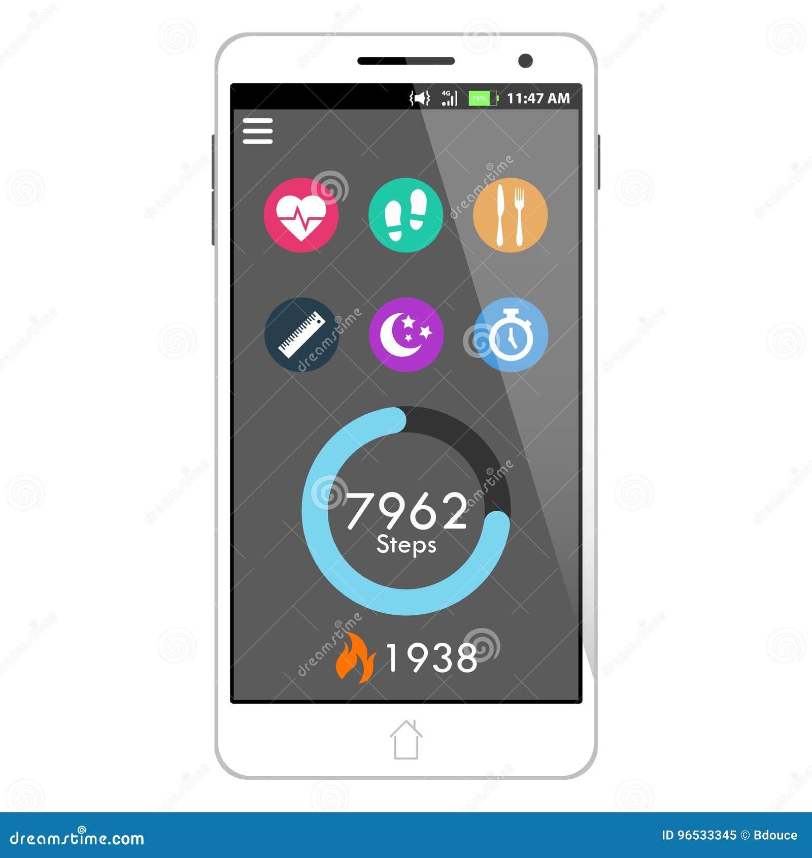 Salute di vettore ed applicazione dello Smart Phone di forma fisica che caratterizza Taskbar, il contatore di operazioni successi