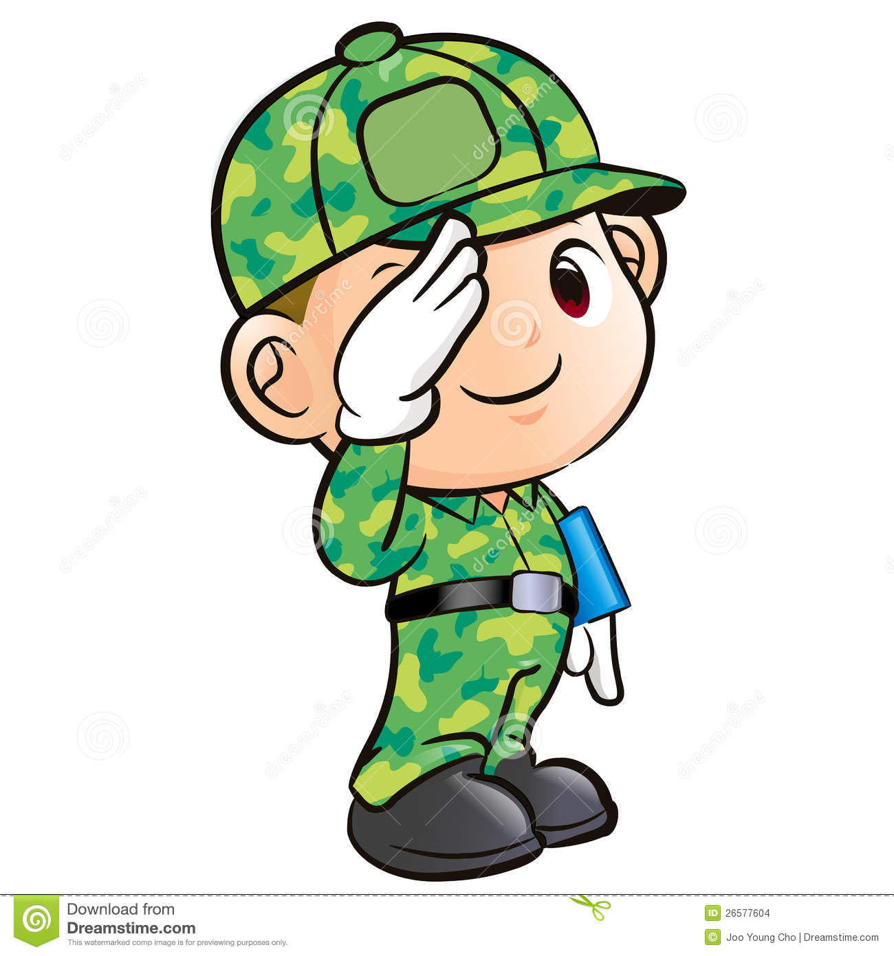 salute to the soldier character stock illustration