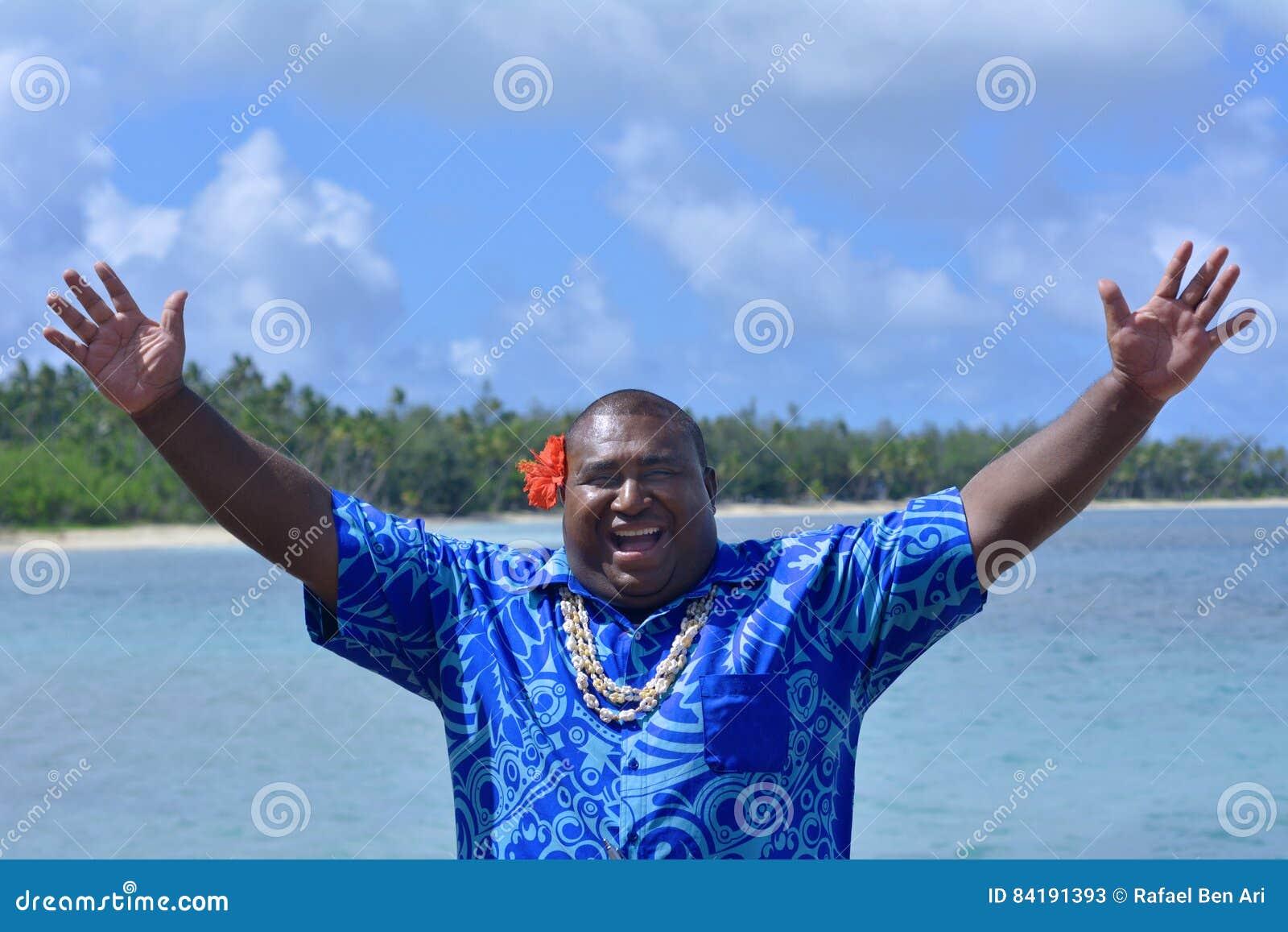 Saluto ciao Bula dell uomo del Fijian