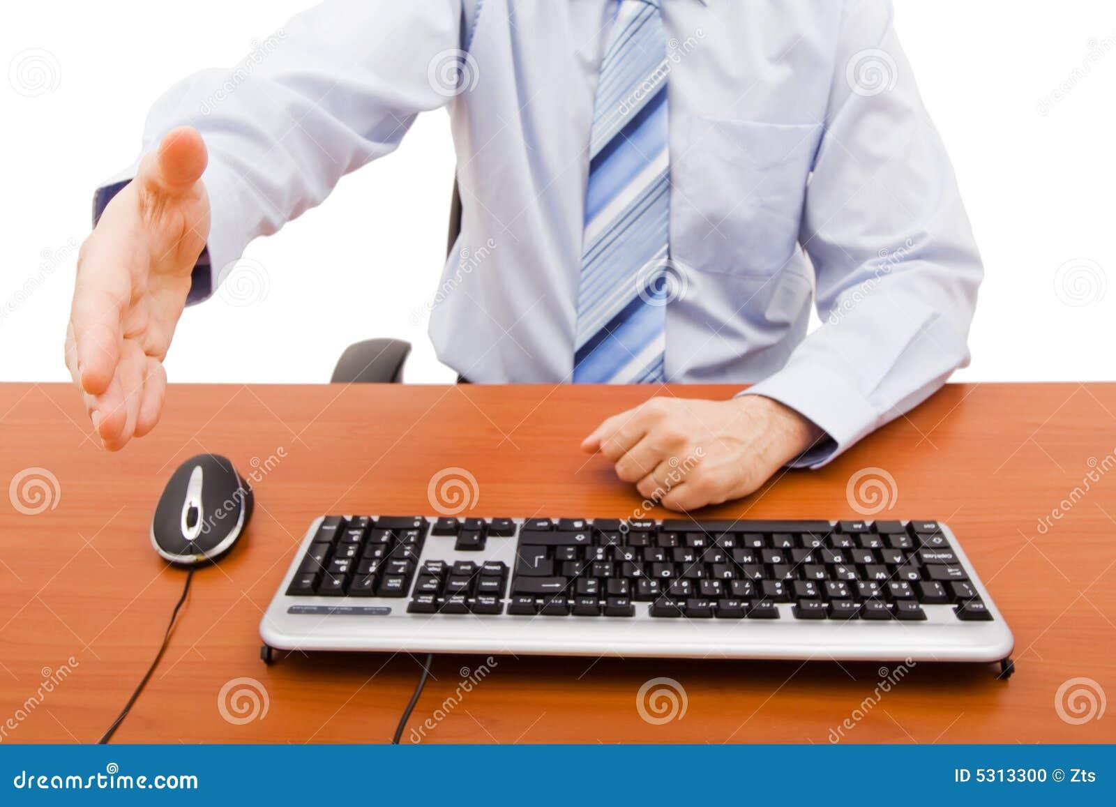 Download Saluto dell'uomo d'affari fotografia stock. Immagine di tastiera - 5313300