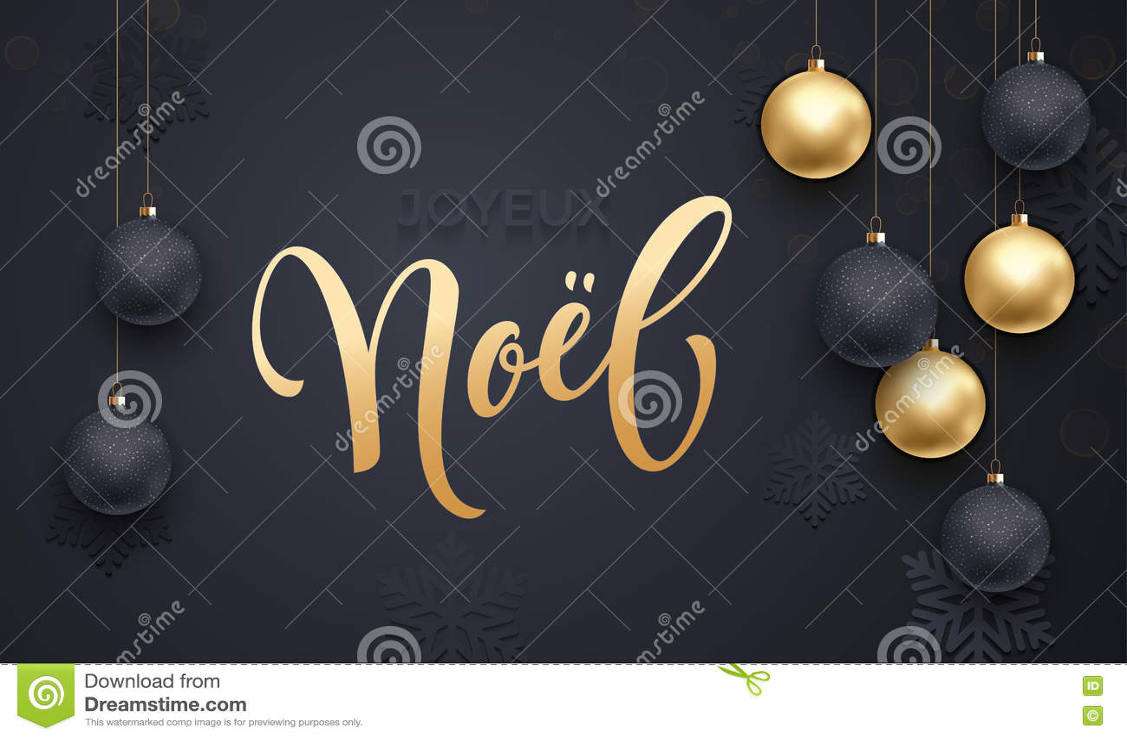 Auguri Di Buon Natale E Felice Anno Nuovo In Francese.Saluto Dorato Francese Dell Ornamento Della Palla Della