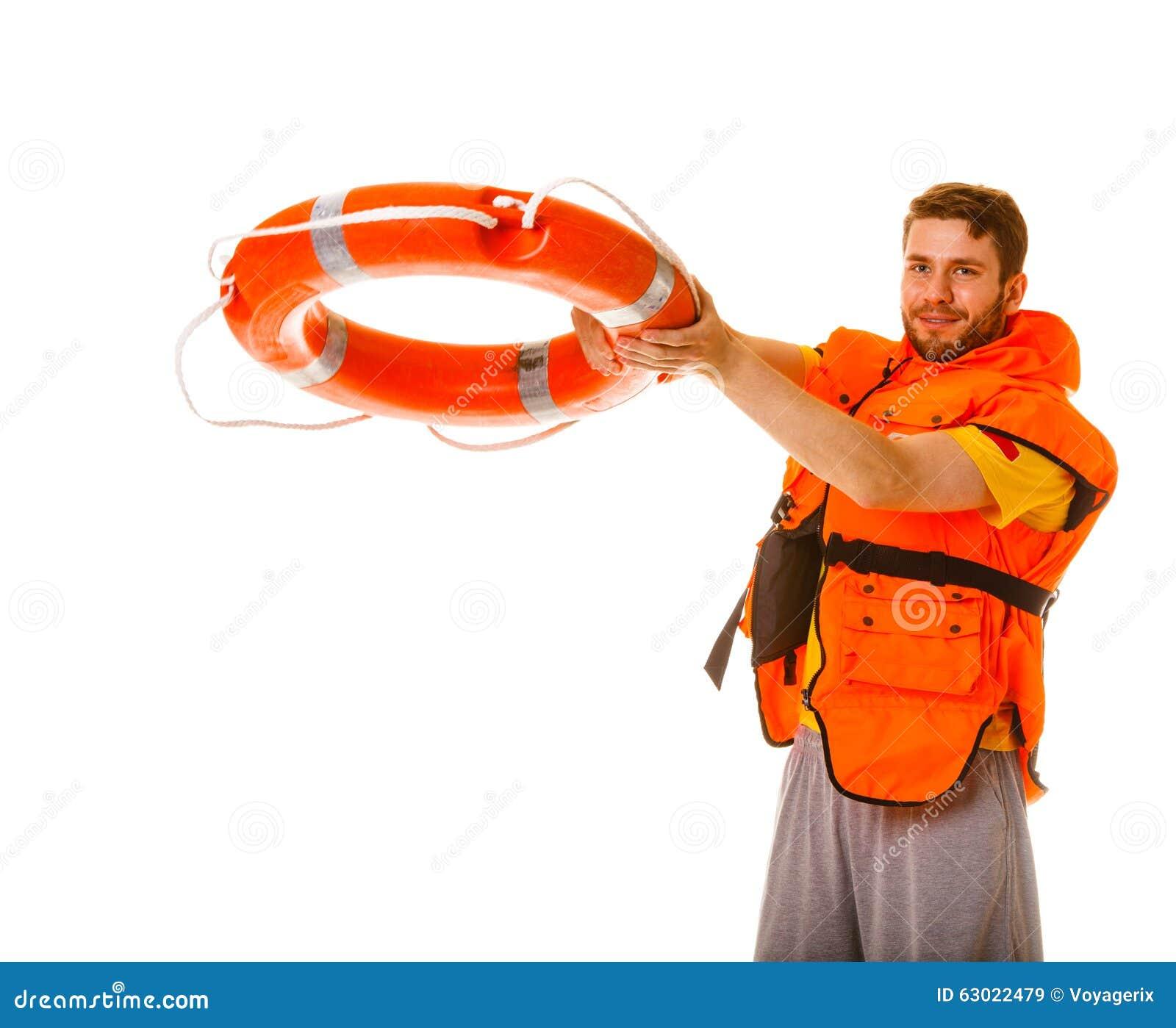 Salva-vidas na veste de vida com o boia salva-vidas da boia de anel