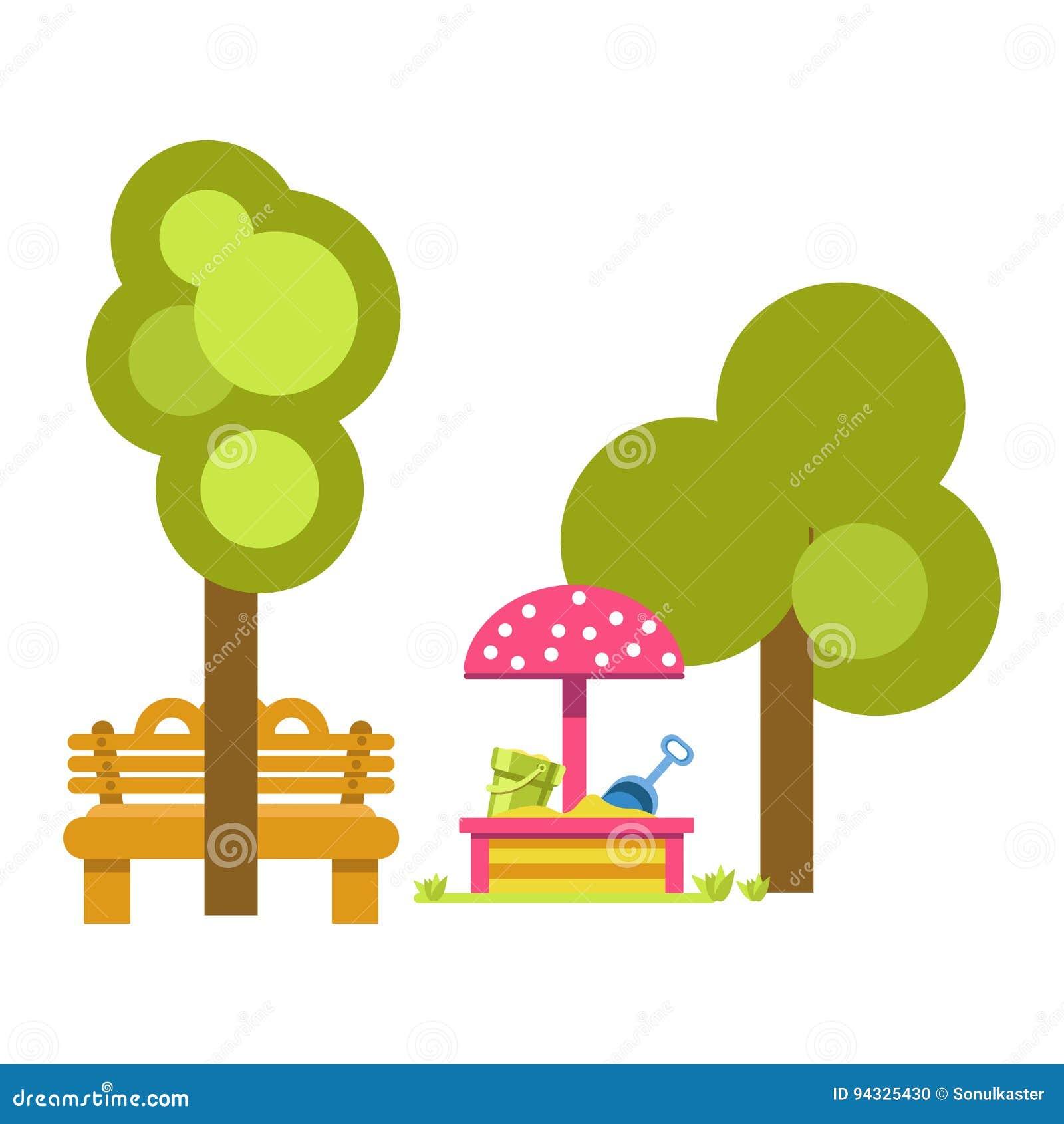 Salvadera Para Los Niños Cerca De árboles Verdes Y Del Banco De