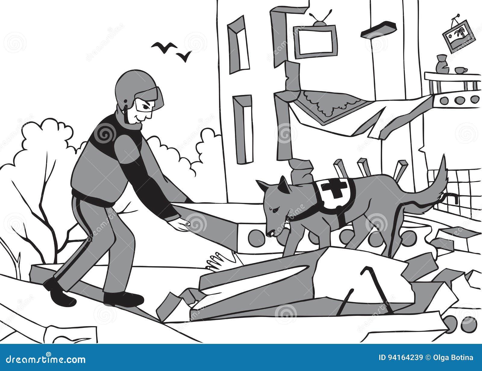 Salvador y perro de la emergencia