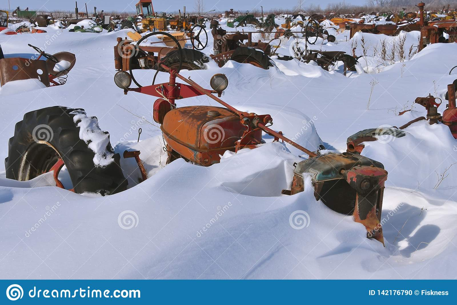 Tractors Buried In The Snow Stock Photo - Image of grill