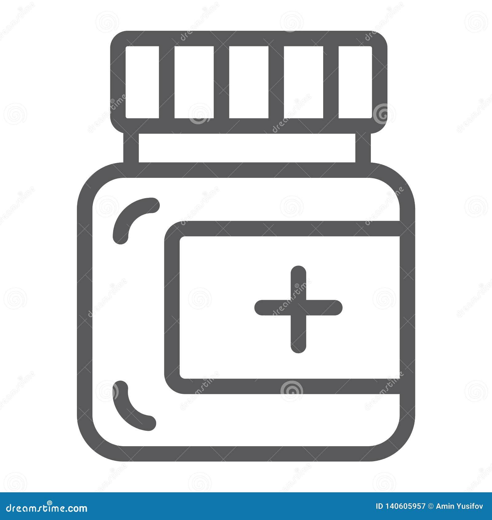 Salvalinje symbol, omsorg och medicin, medicinskt flasktecken, vektordiagram, en linjär modell på en vit bakgrund