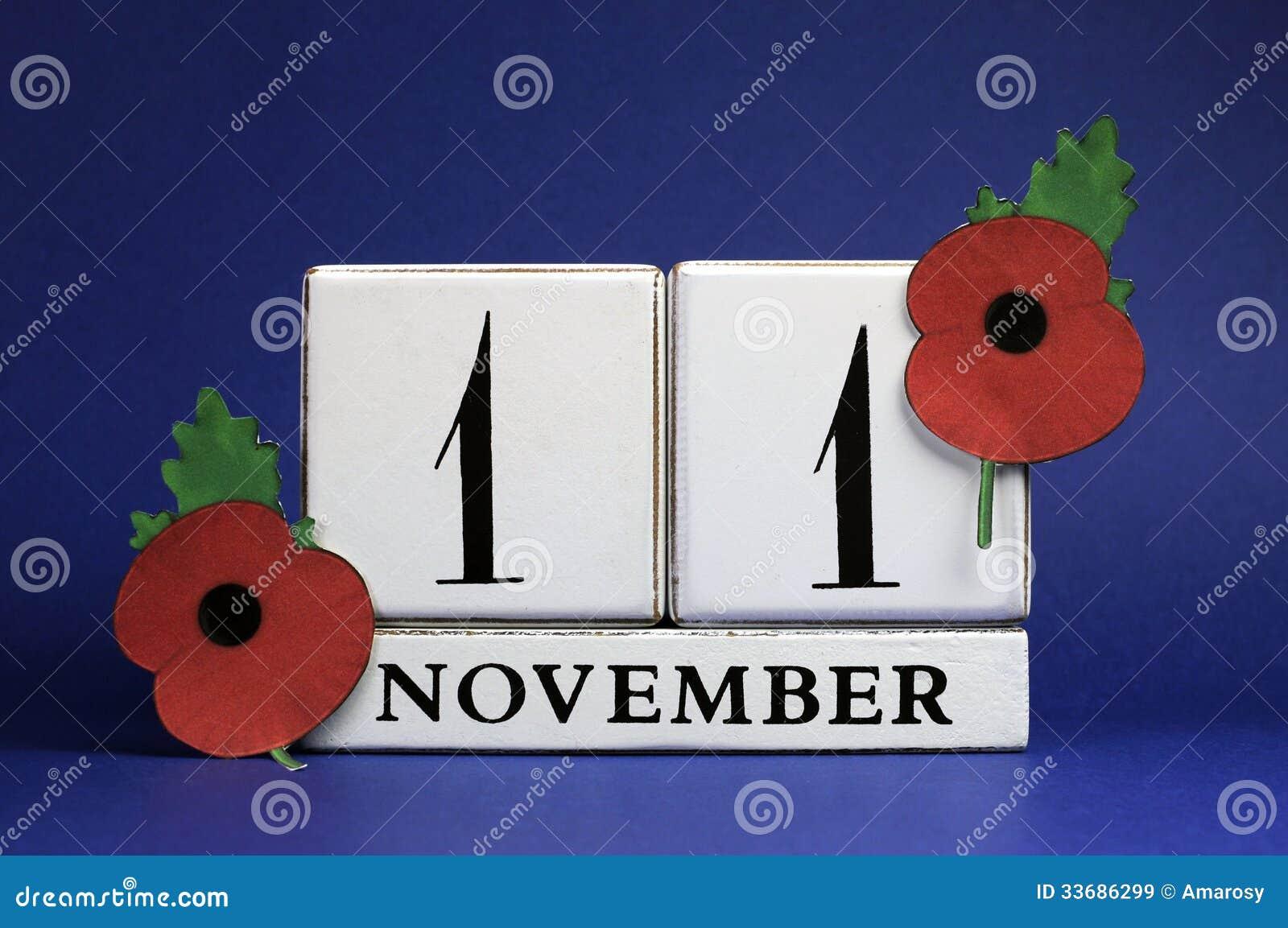 Salvar a data, calendário de bloco branco, para o 11 de novembro, dia da relembrança