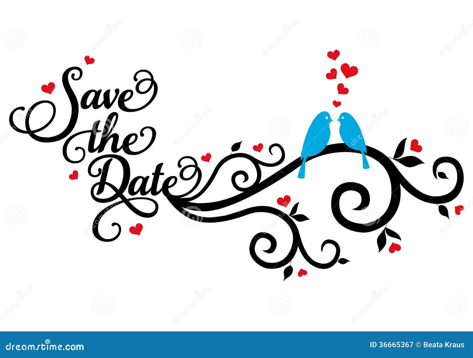 Salvar a data, pássaros do casamento, vetor