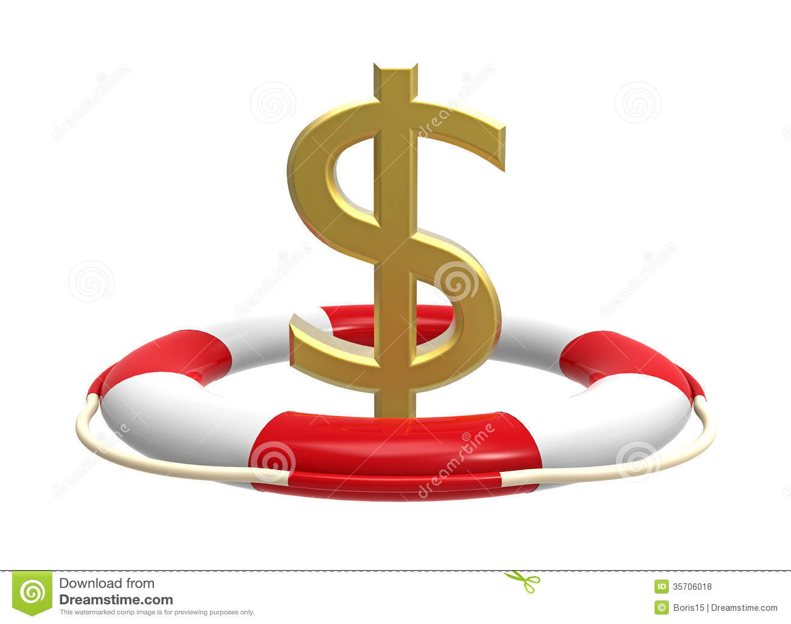 Salvavidas con la muestra de dólar