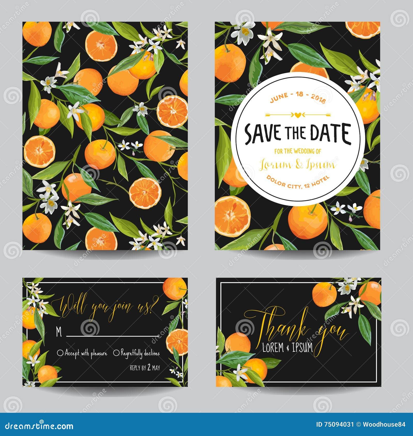 Salve La Tarjeta De Fecha Naranja Hojas Y Flores Invitación