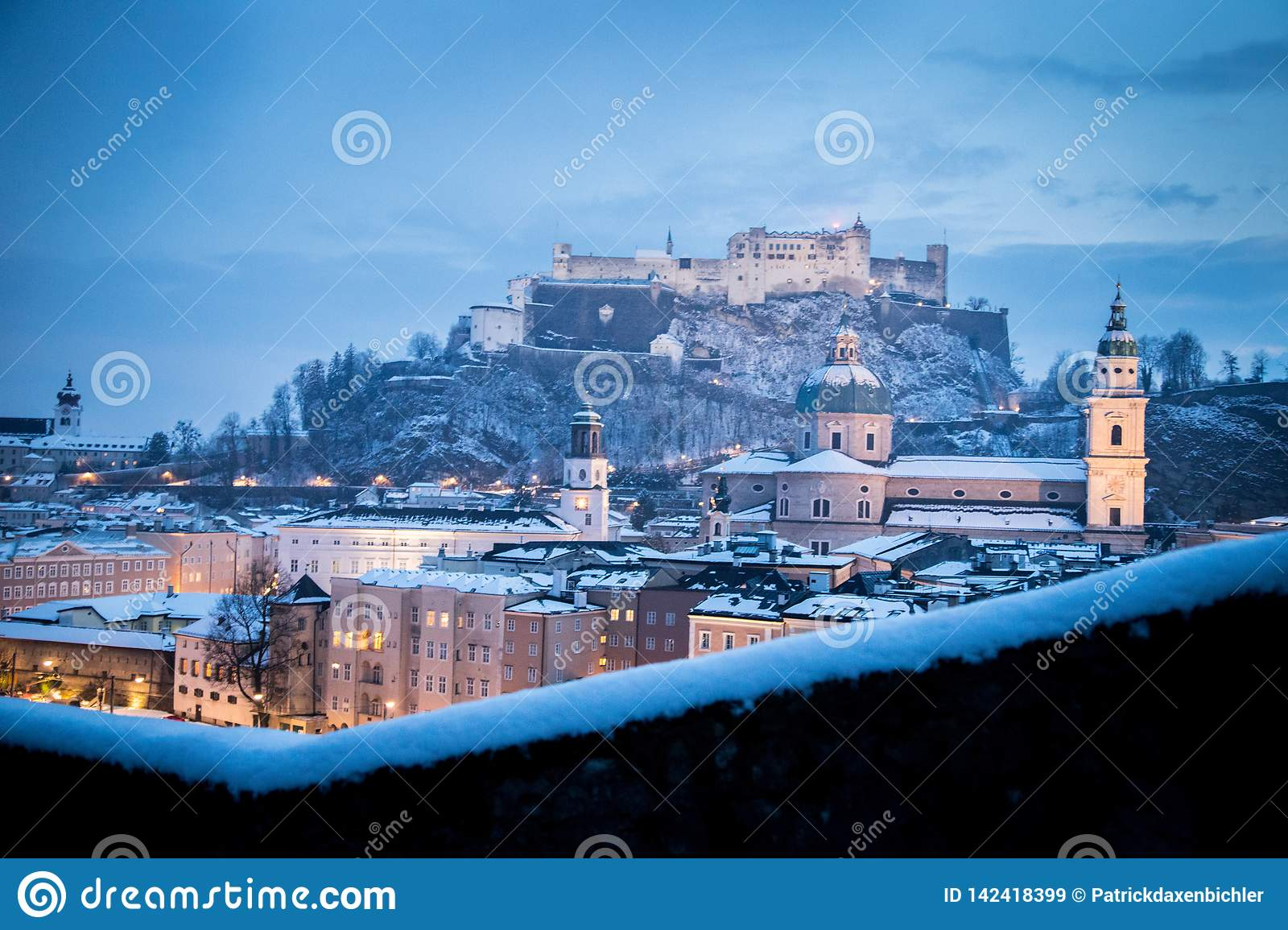 Salzburg Christmas Time.Salzburg Old City At Christmas Time Snowy In The Evening