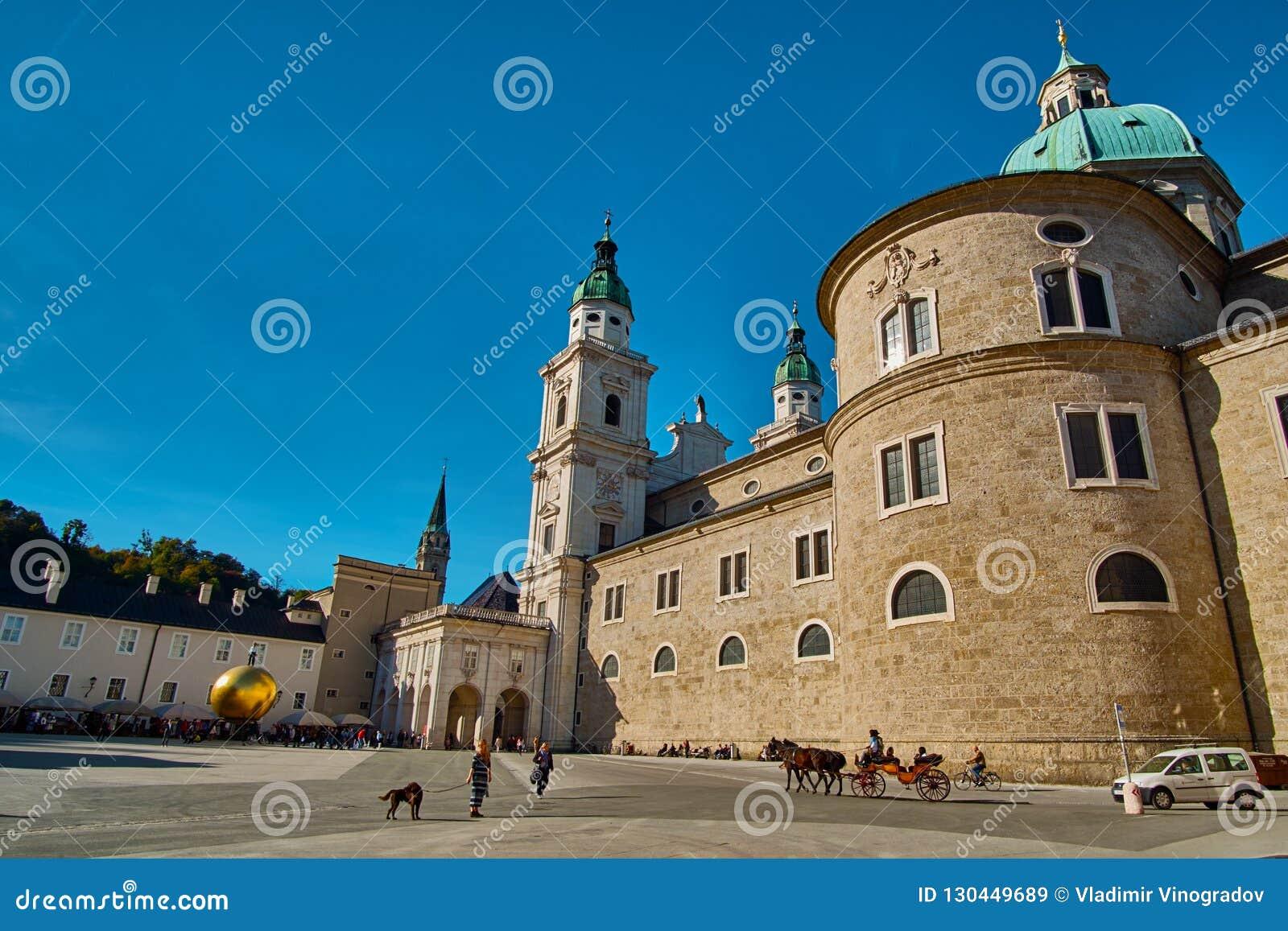 Salzburg, Salzburger Land, Austria - September 11, 2018: Beautiful sunny view of Salzburg Cathedral Dom zu Salzburg