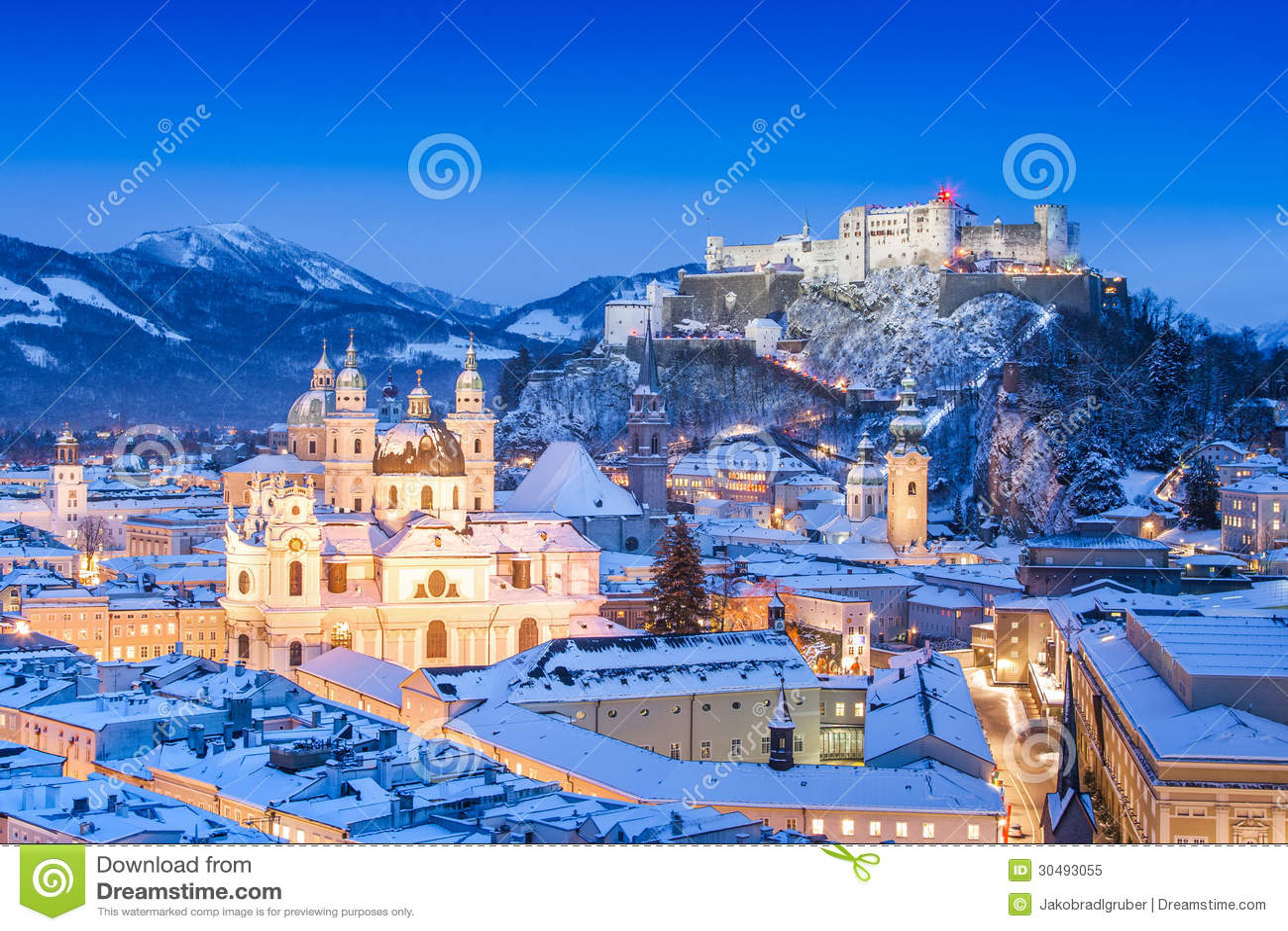 Salzburg skyline in winter as seen from Moenchsberg, Salzburger Land, Austria