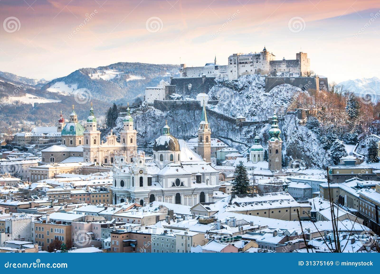 Salzburg In Winter, Salzburger Land, Austria Royalty Free ...