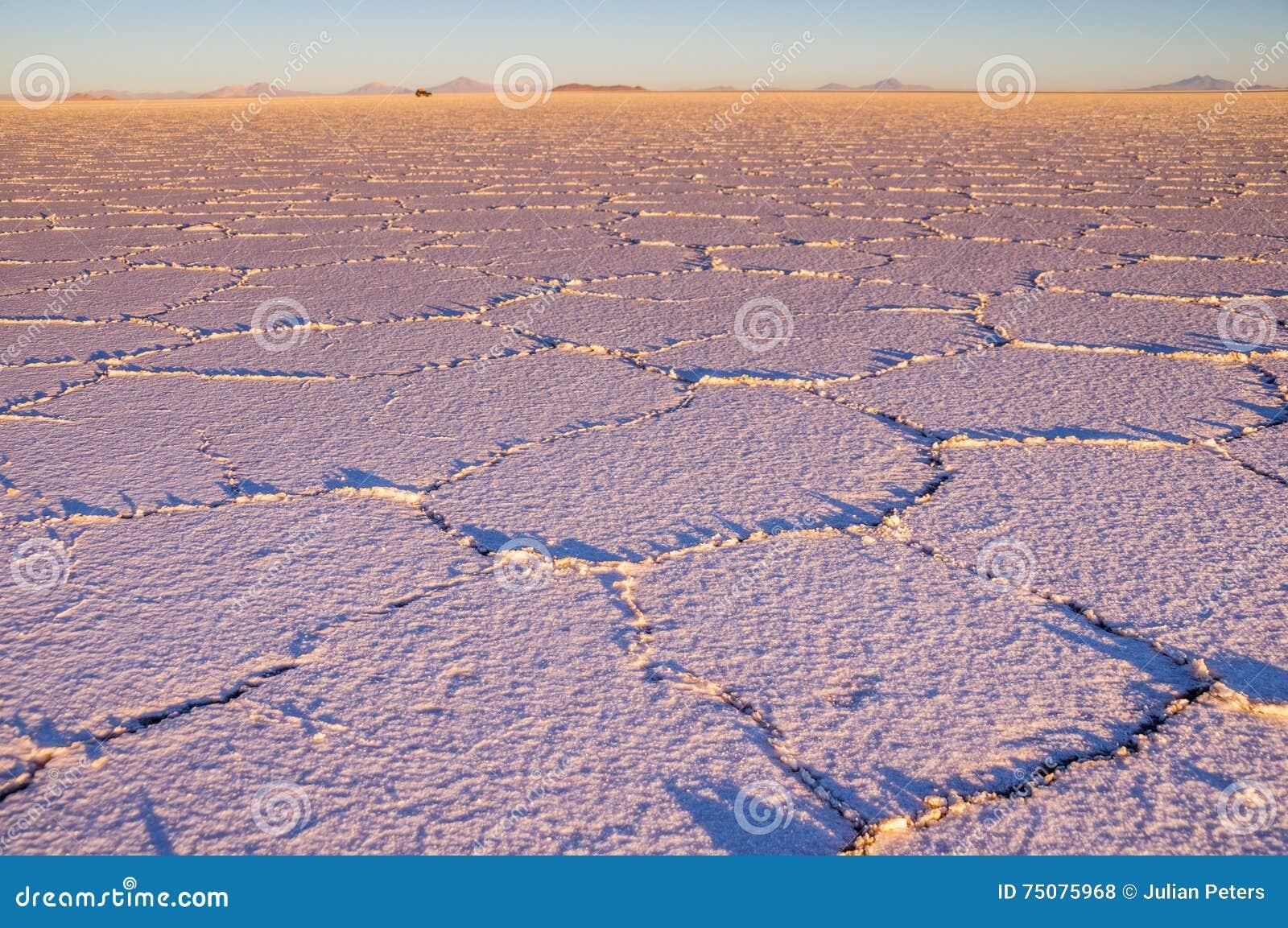 Salzen Sie Muster bei Sonnenaufgang - Salar de Uyuni, Bolivien