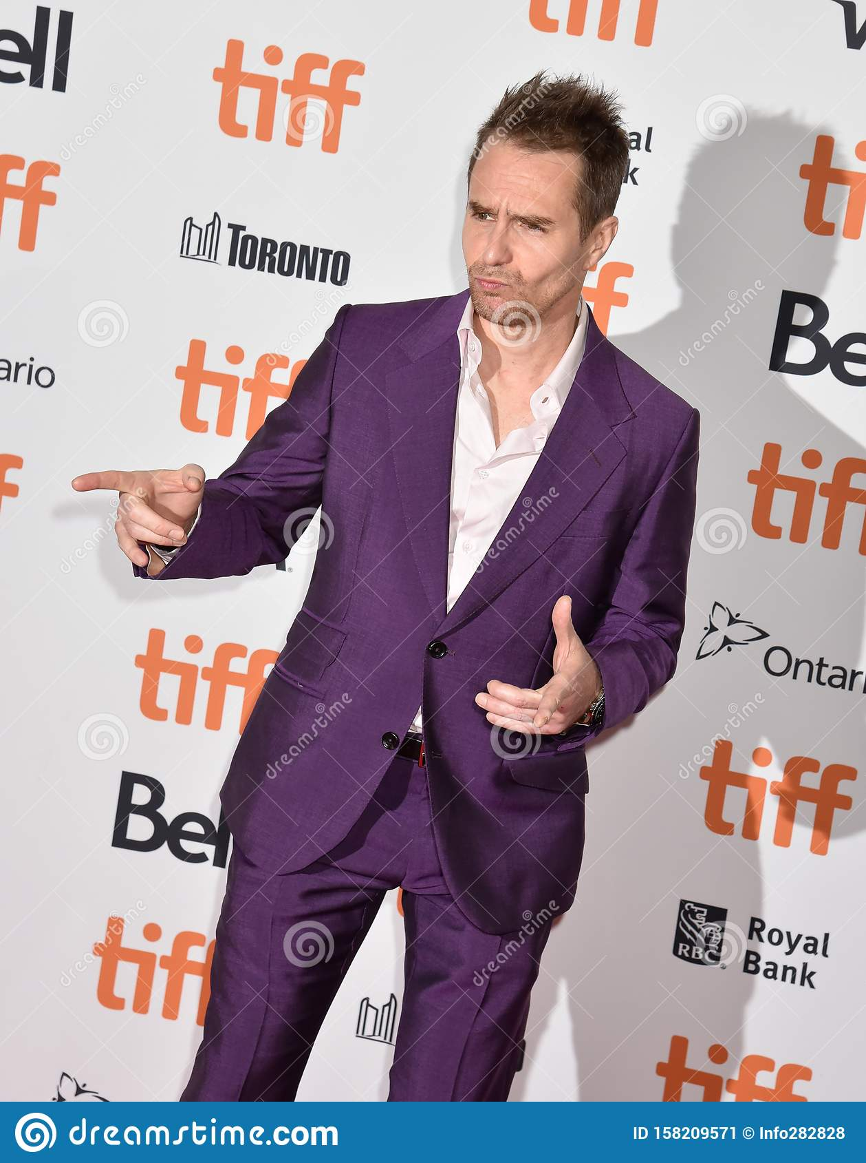 Sam Rockwell on red carpet for Jojo Rabbit movie premiere at TIFF