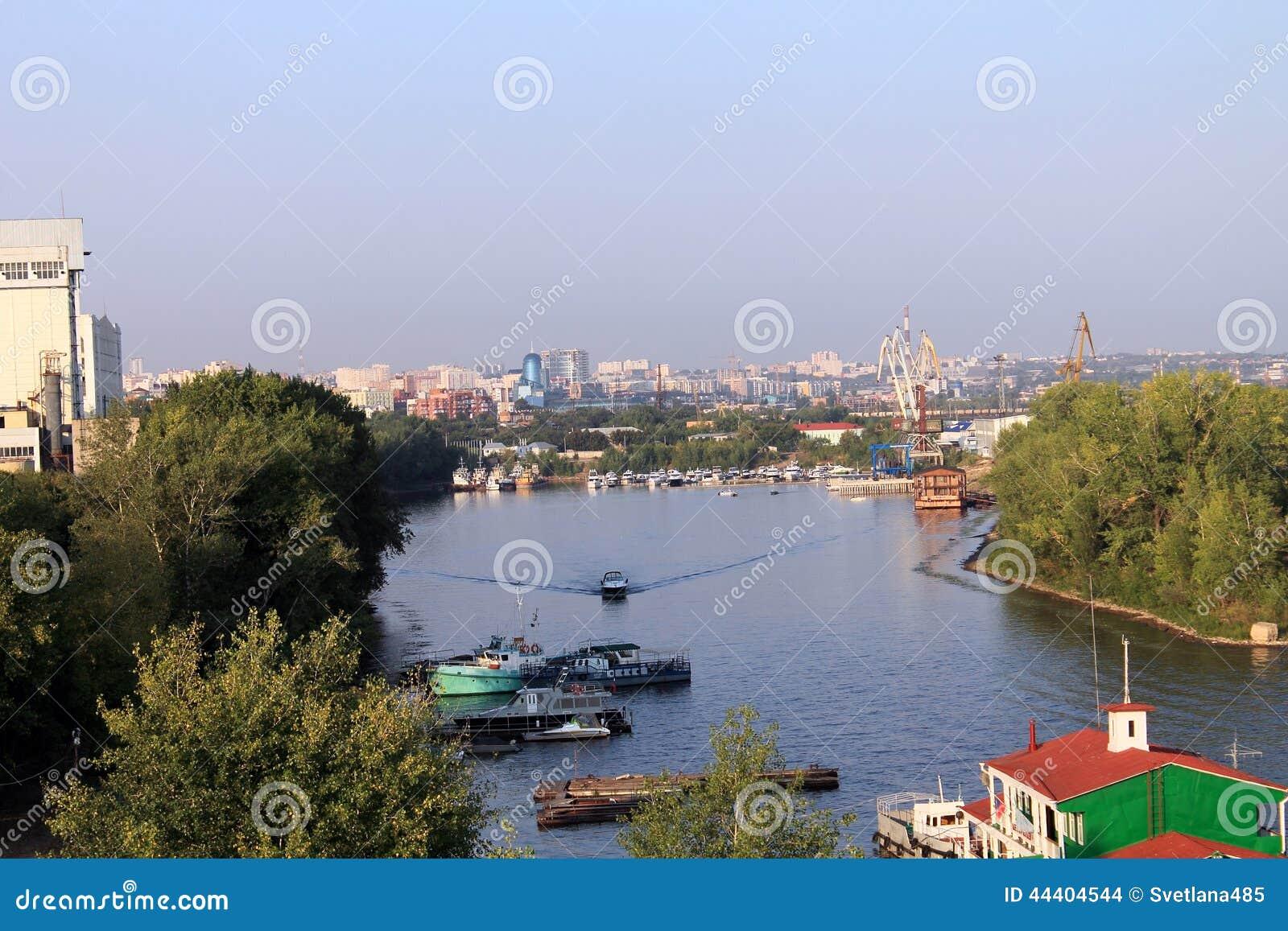 Samara Russia  city photos : Samara, Russia August 15, 2014: the Volga River. Boats floating on ...