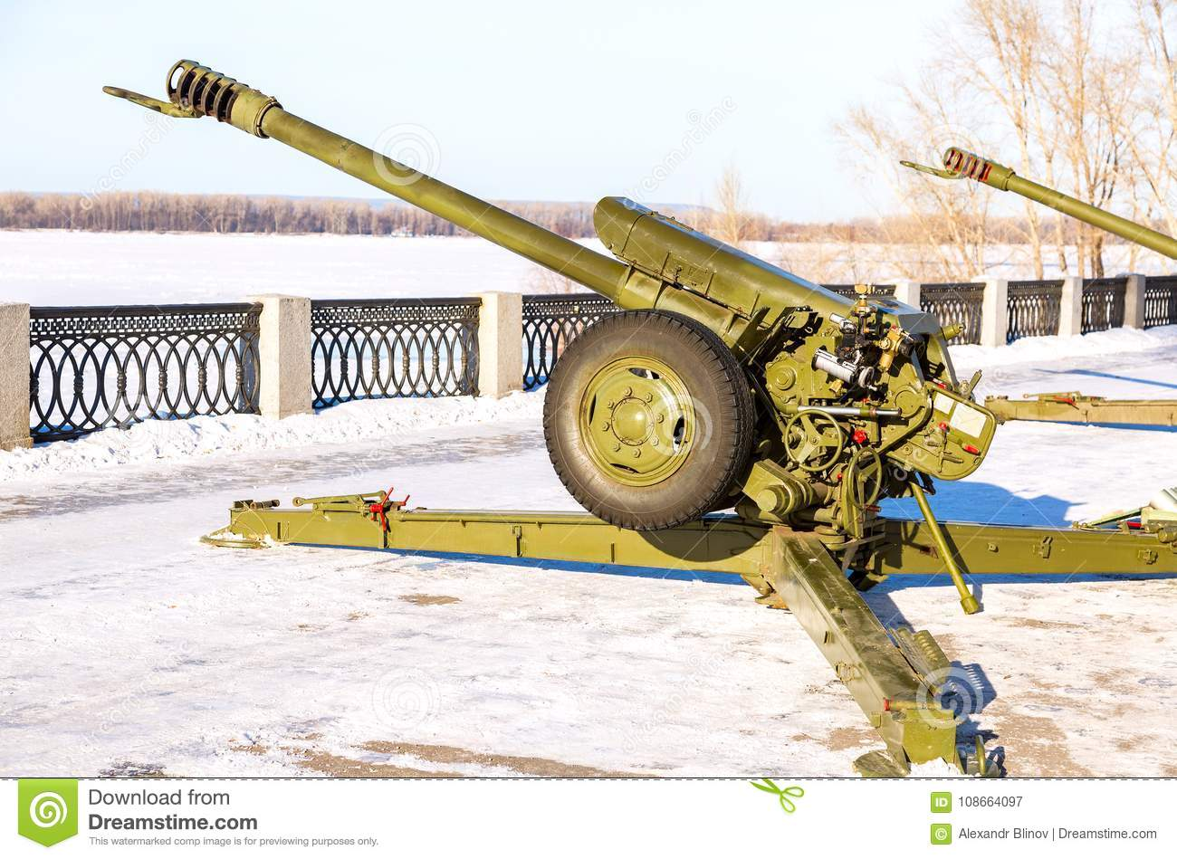 The 122 Mm Howitzer D30 At The Embankment Of Volga River In