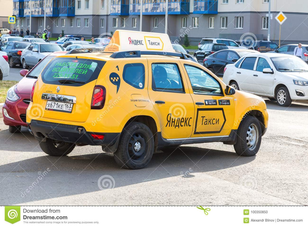 Yandex Taxi At The City Street In Samara, Russia Editorial