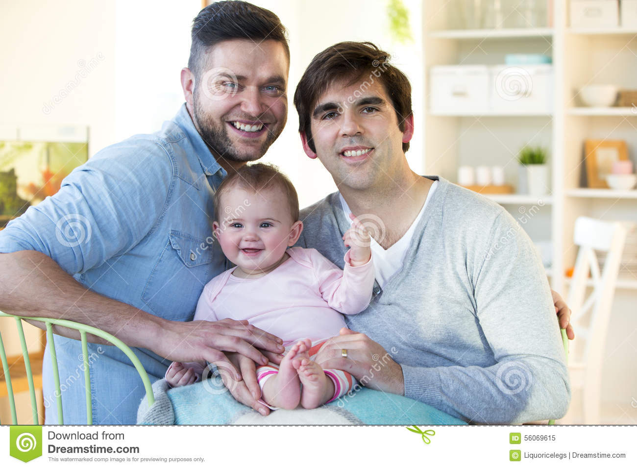 Same sex couple with daughter at home