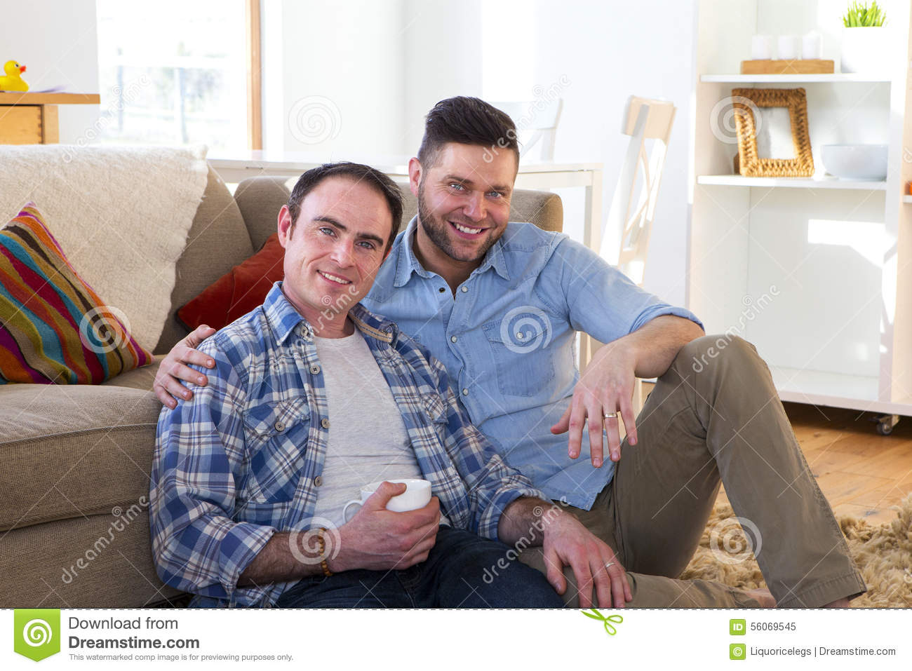 Same sex couple at home