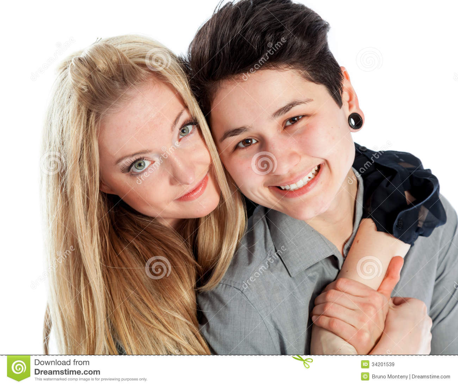 same sex couple isolated on white background stock image - image of