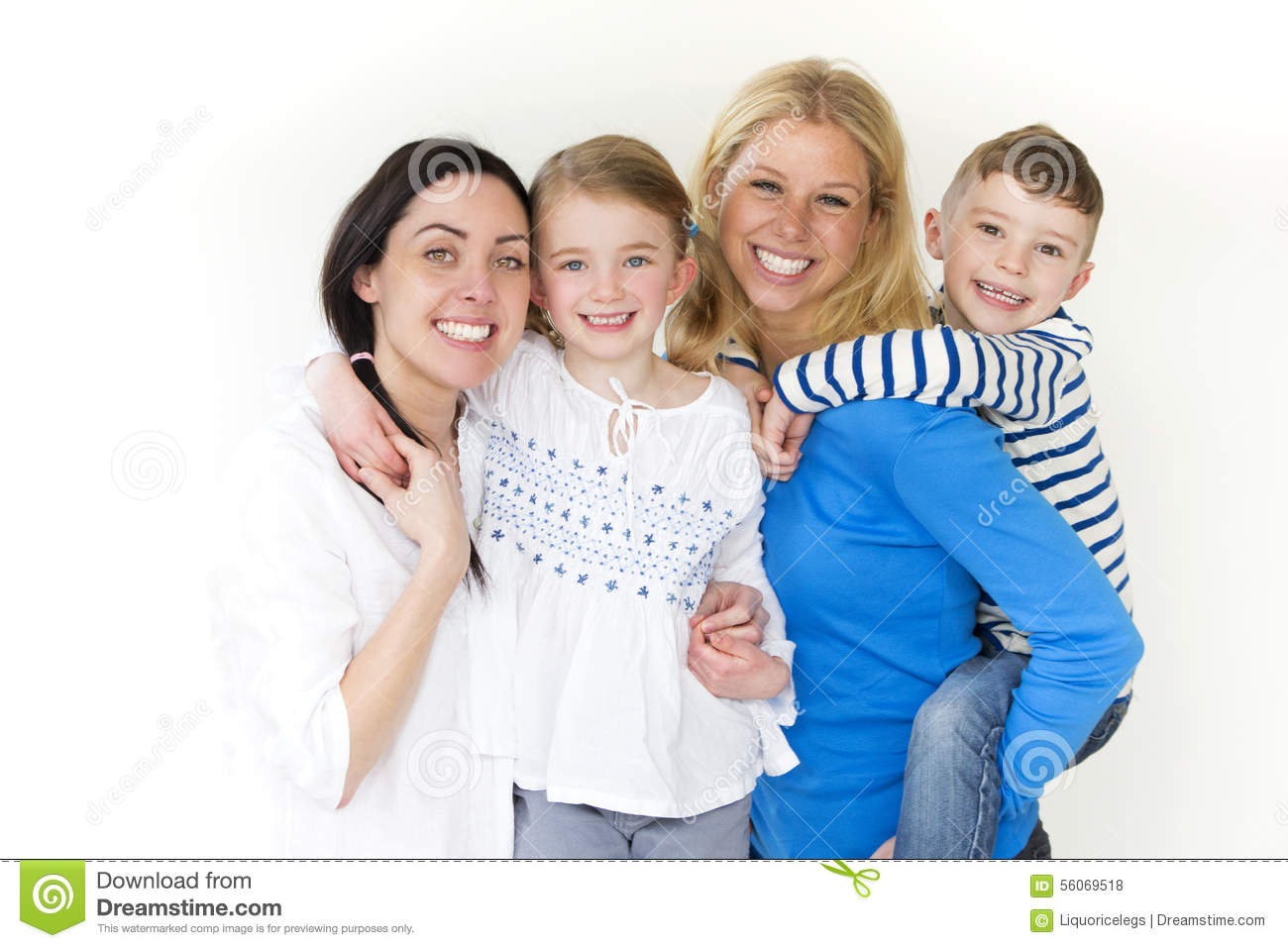 Same sex couple with their children