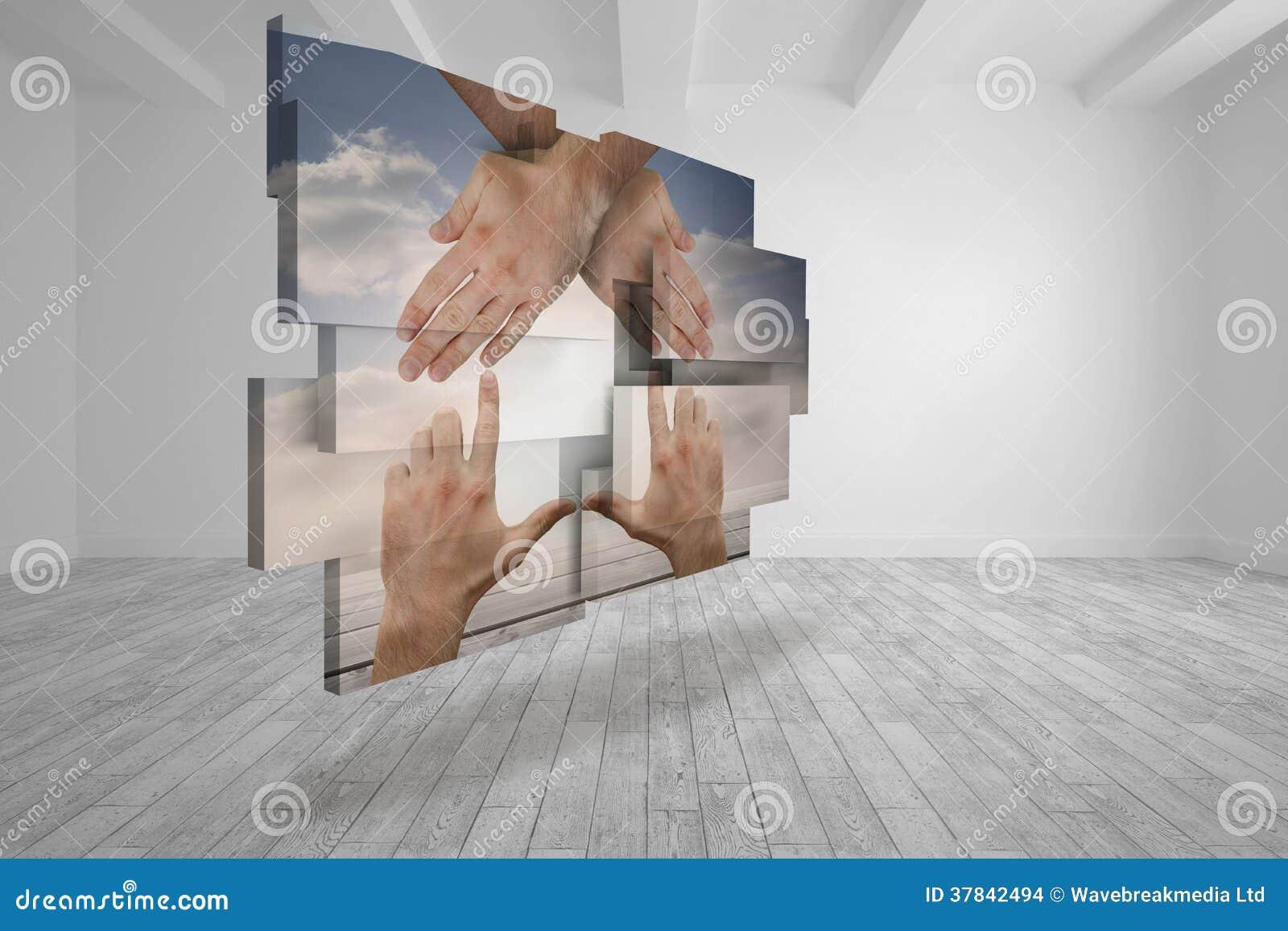Samengesteld beeld die van handen een huis op het abstracte scherm maken stock afbeeldingen - Beeld van eigentijds huis ...