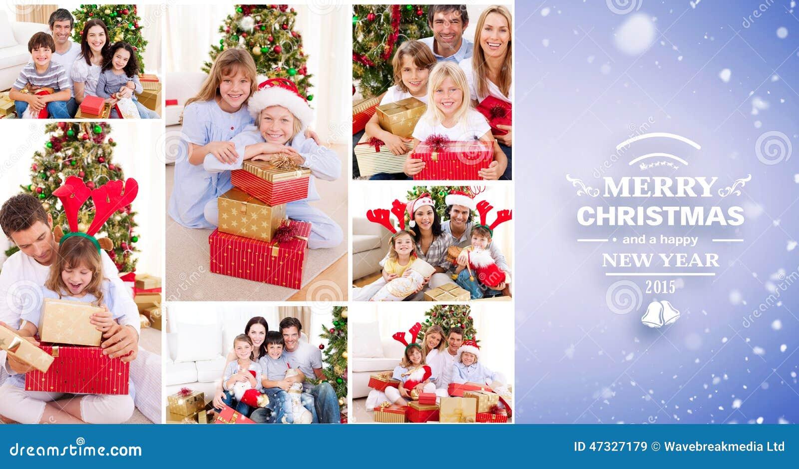 Samengesteld beeld van collage van families die Kerstmis samen thuis vieren