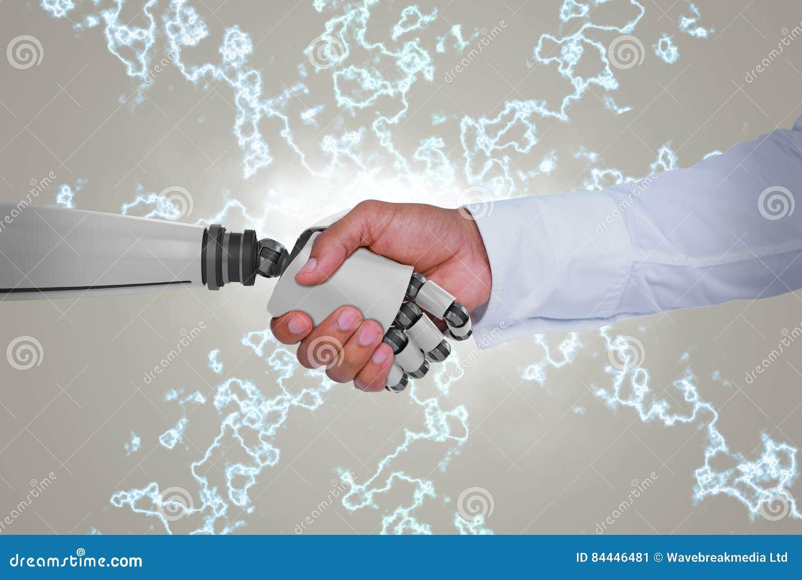 Samengesteld beeld van computer grafisch beeld van zakenman en robot het schudden handen