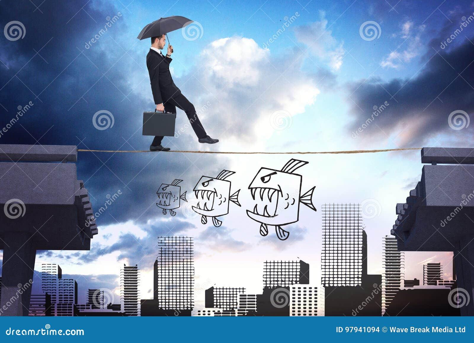 Samengesteld beeld van de aktentas van de zakenmanholding onder paraplu