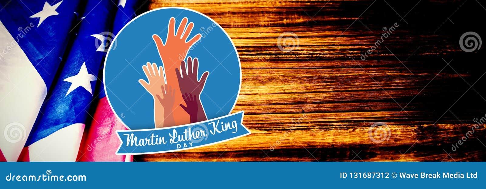 Samengesteld beeld van de koningsdag van Martin luther met handen