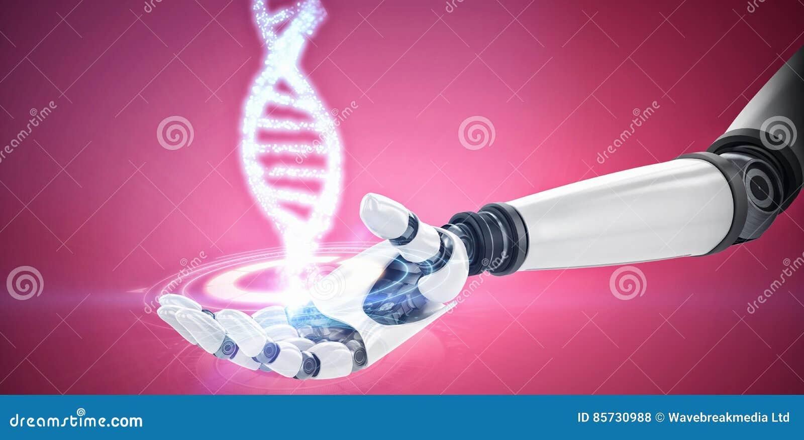 Samengesteld beeld van digitaal beeld van robotachtige hand
