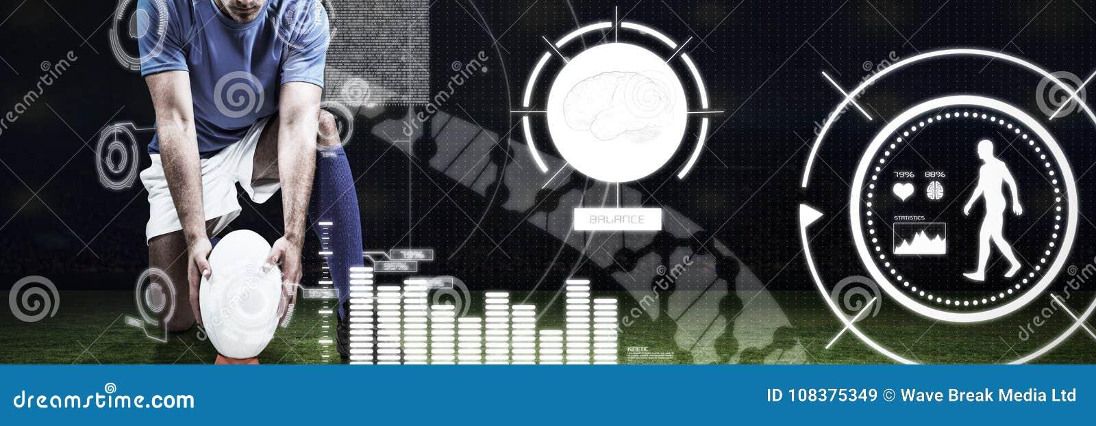 Samengesteld beeld van digitaal samengesteld beeld van de plaatsende bal van de rugbyspeler