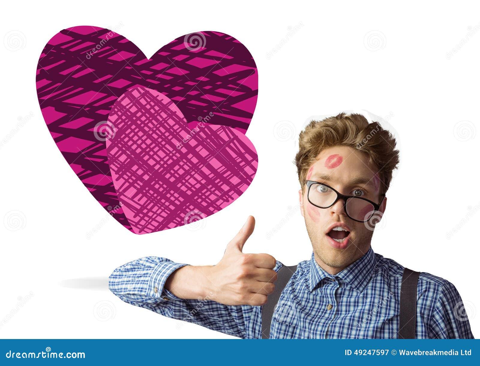 Samengesteld beeld van geeky die hipster in kussen wordt behandeld