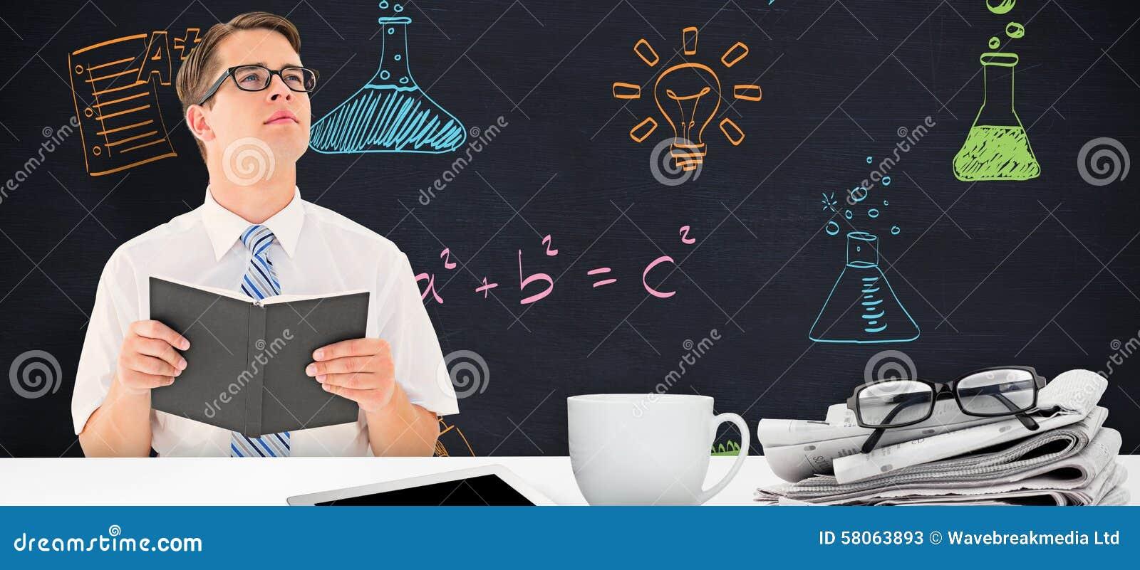 Samengesteld beeld van geeky zakenmanlezing van boek