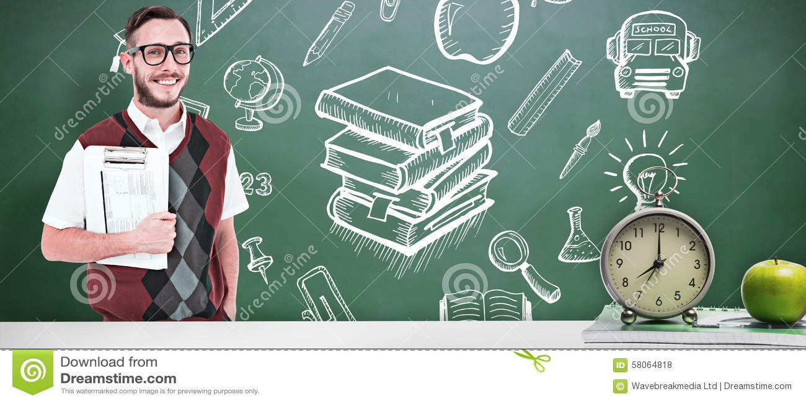 Samengesteld beeld van het geeky klembord van de mensenholding in vest