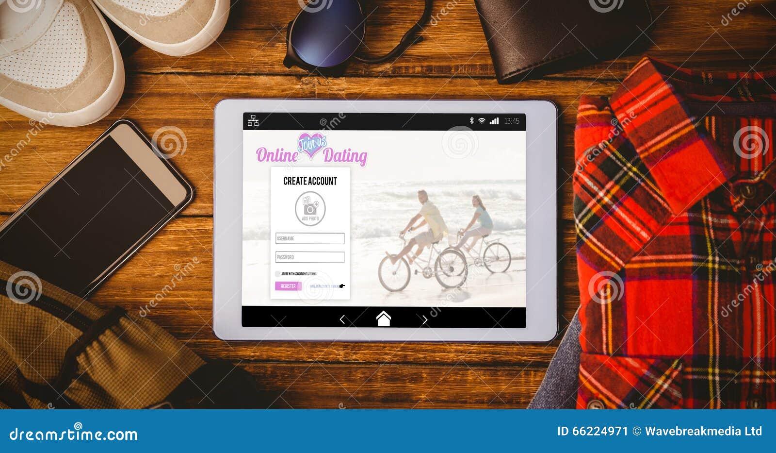 Samengesteld beeld van het online dateren app