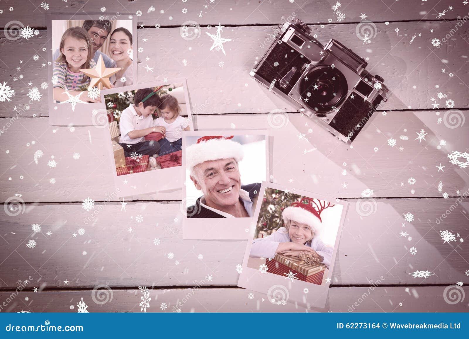 Samengesteld beeld van het portret van familiekerstmis